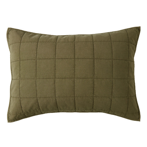 Set of 2 Olive Washed Cotton Pillowcases