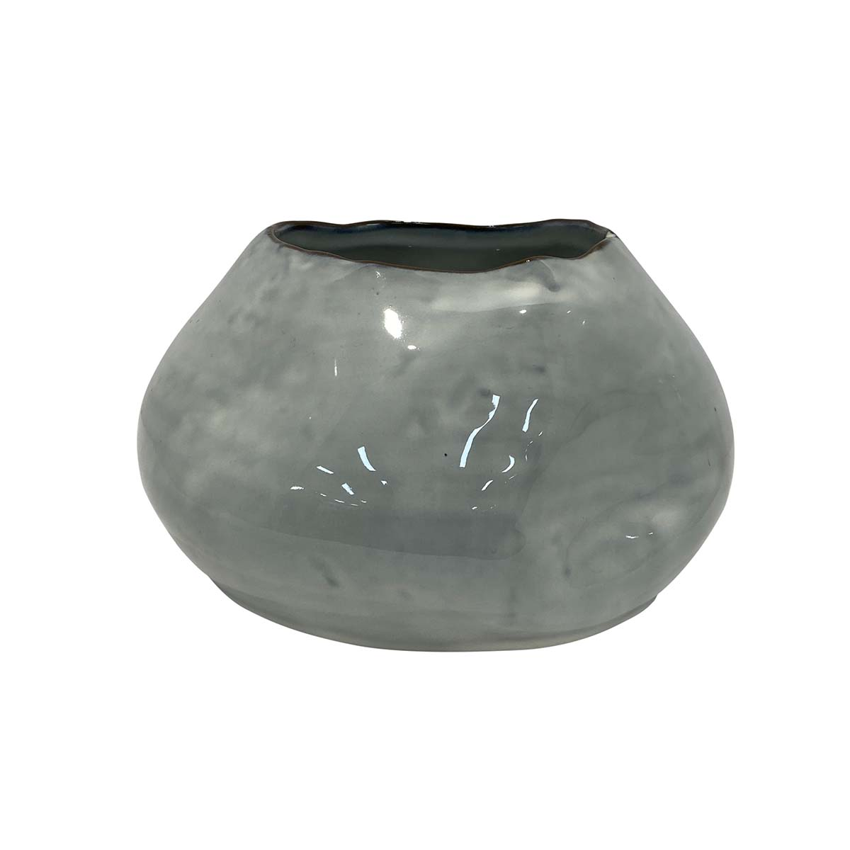Indigo Halo Vase 17 x 12cm in Ceramic