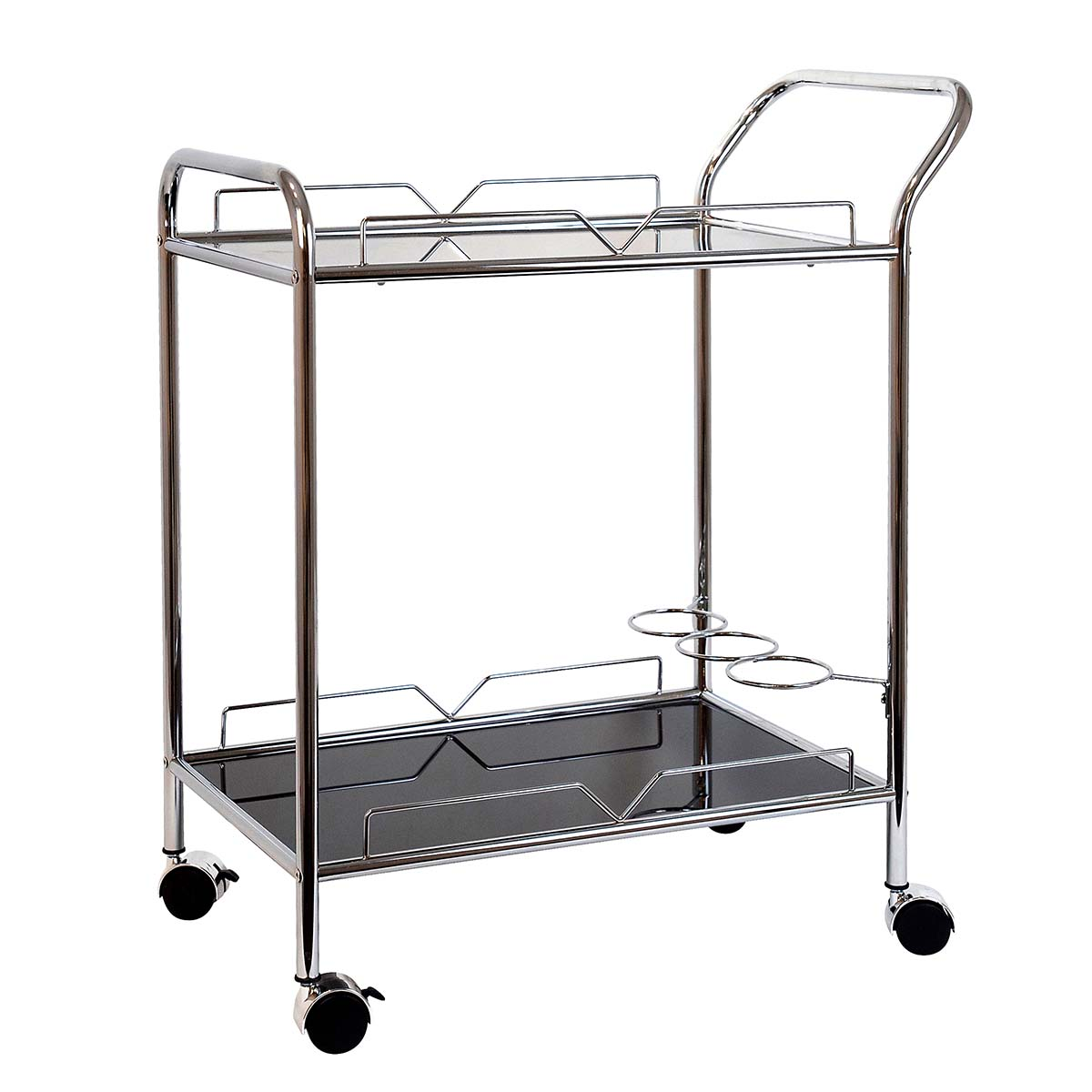 DEAN RECT BAR TROLLEY 78 x 80cm in silver/black