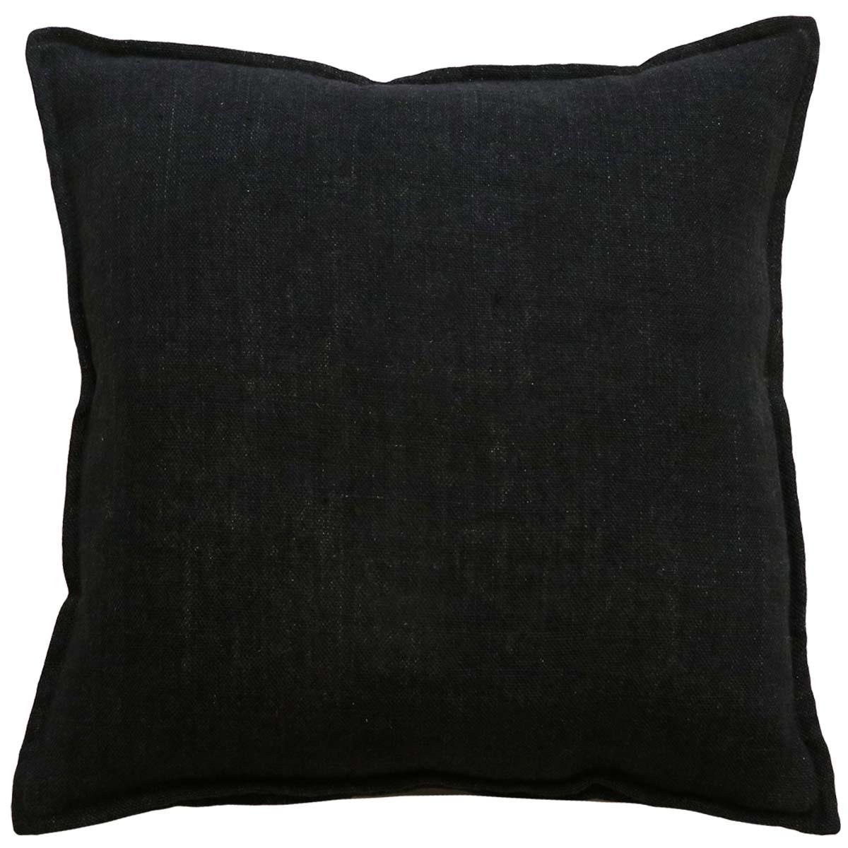 FLAXMILL FEATHER FILL CUSHION 50X50CM in black