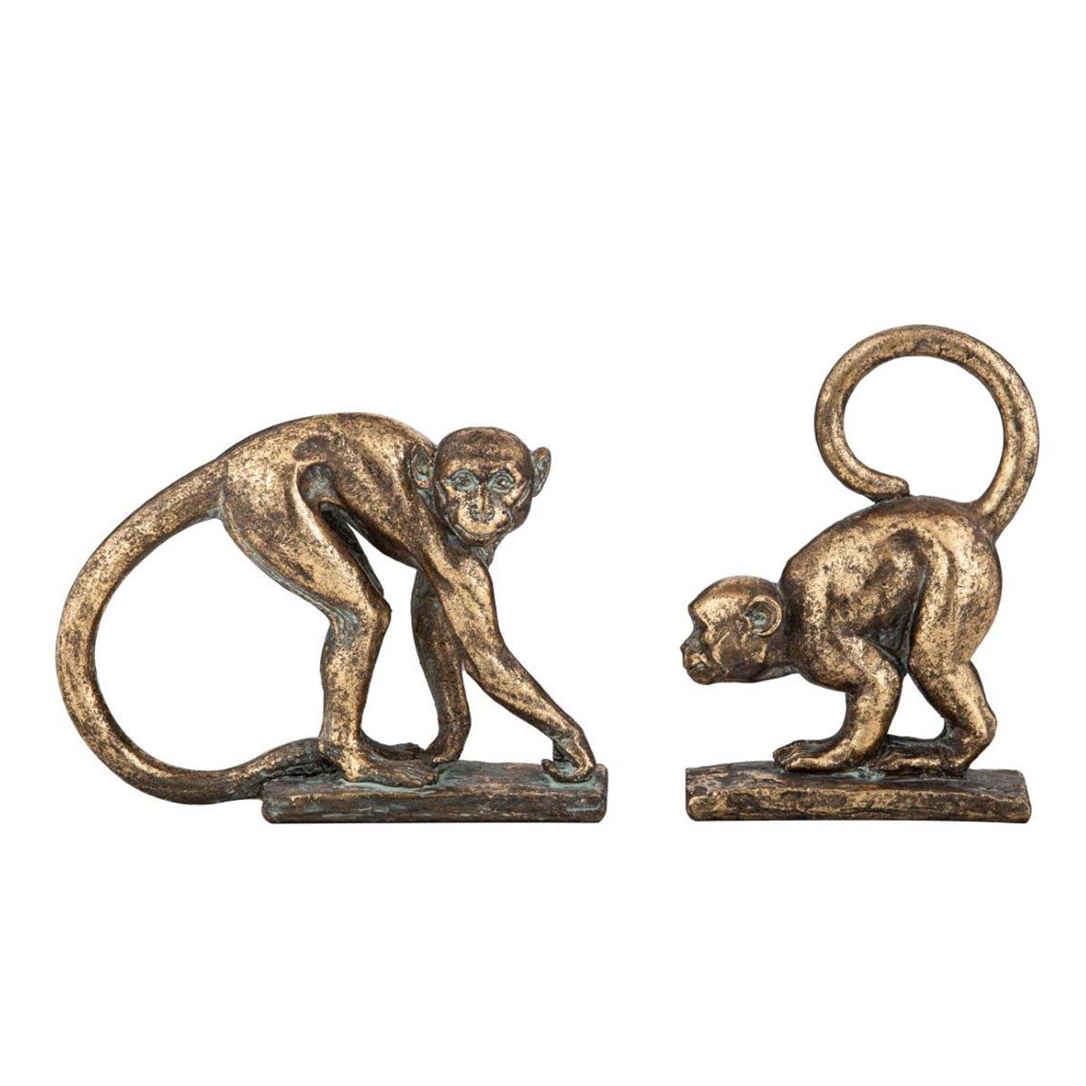 MONKEY SCULPTURE SET OF 2 in gold