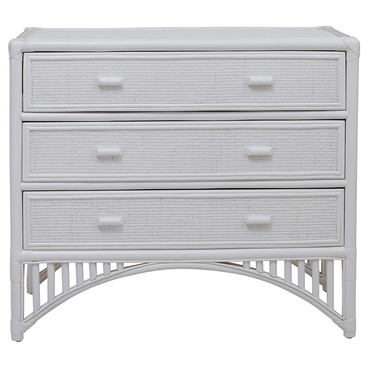 CHLOE CHEST OF 3 DRAWERS in White Rattan