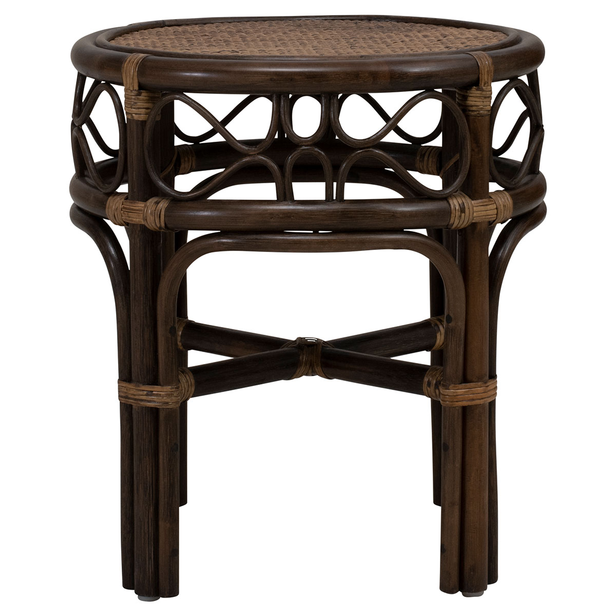 MAHALA SIDE TABLE in light antique brown rattan