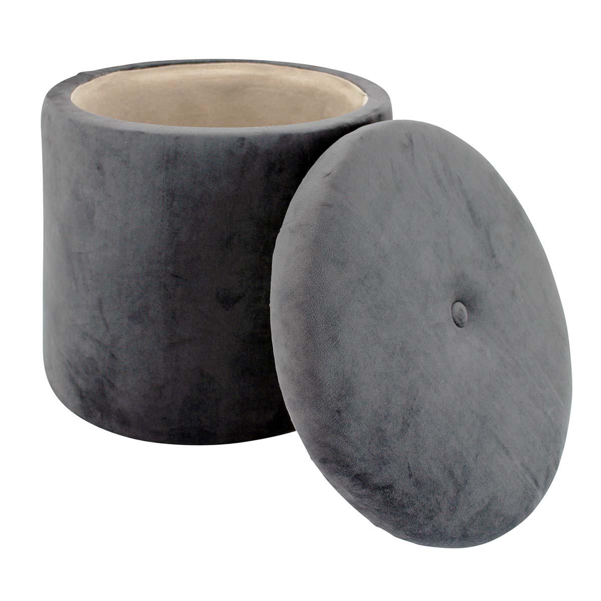 ROUND OTTOMAN in velvet grey