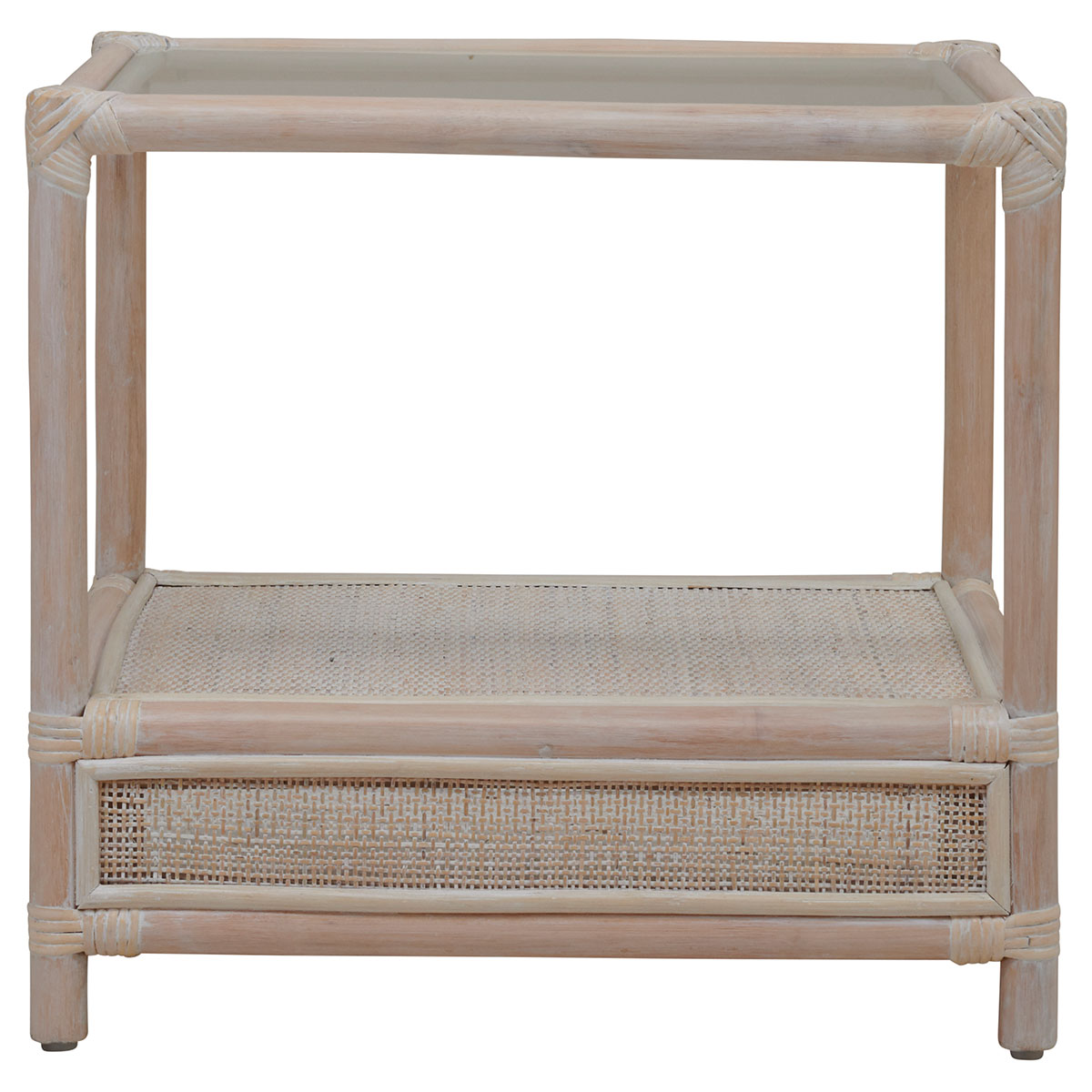 SUTTON SIDE TABLE in white wash rattan