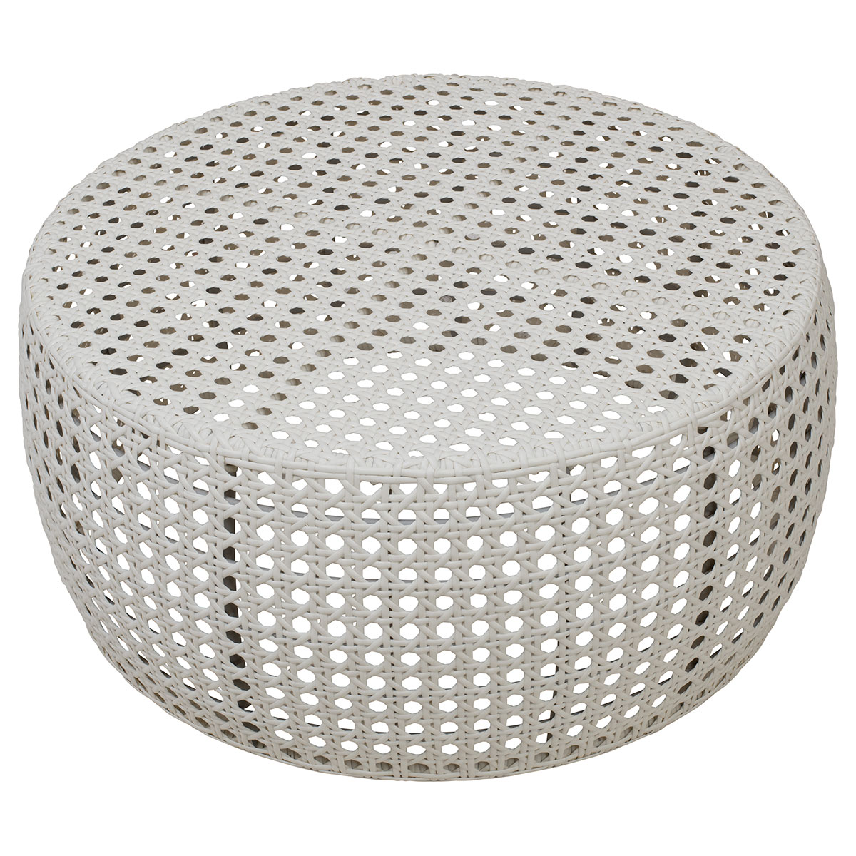 FABIO OUTDOOR COFFEE TABLE in White Poly-Rattan