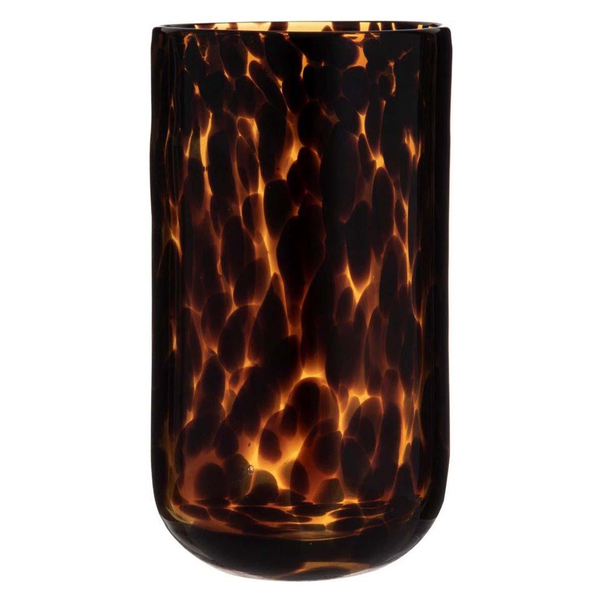 EMBER VASE 14X23CM in amber/black