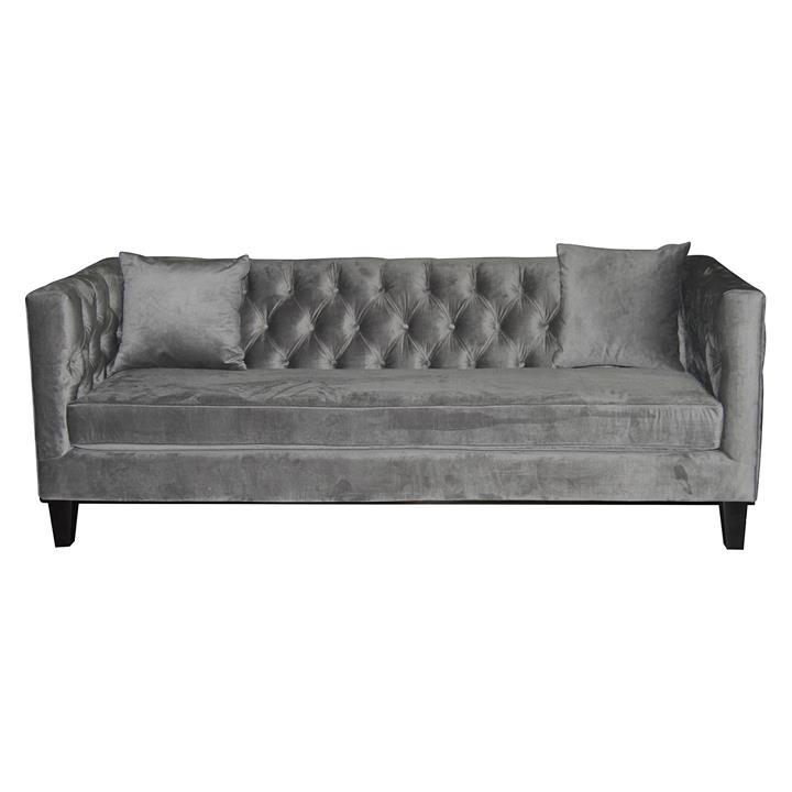 Provence Upholstered 3 Seater Sofa, Dark Grey