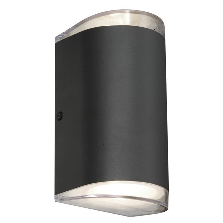 Sherlock IP54 Indoor / Outdoor Up / Down LED Wall Light, Semi Round, Black