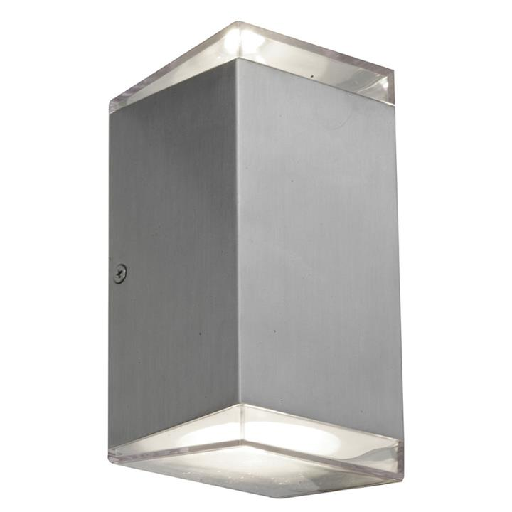 Sherlock IP54 Indoor / Outdoor Up / Down LED Wall Light, Square, Silver