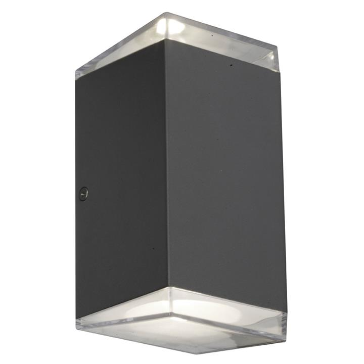 Sherlock IP54 Indoor / Outdoor Up / Down LED Wall Light, Square, Black