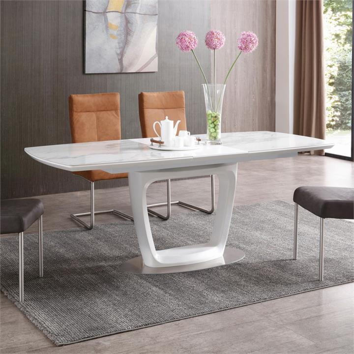 Joyce Ceramic Topped Extendable Dining Table, 160-200cm