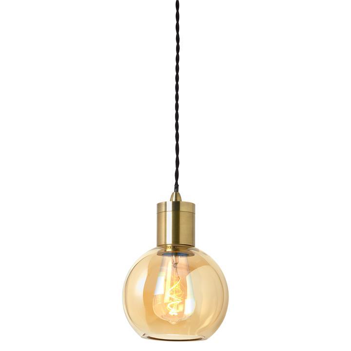 Parlour Sphere Glass Pendant Light, Amber / Antique Brass