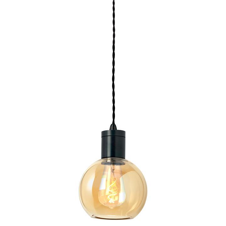 Parlour Sphere Glass Pendant Light, Amber / Iron