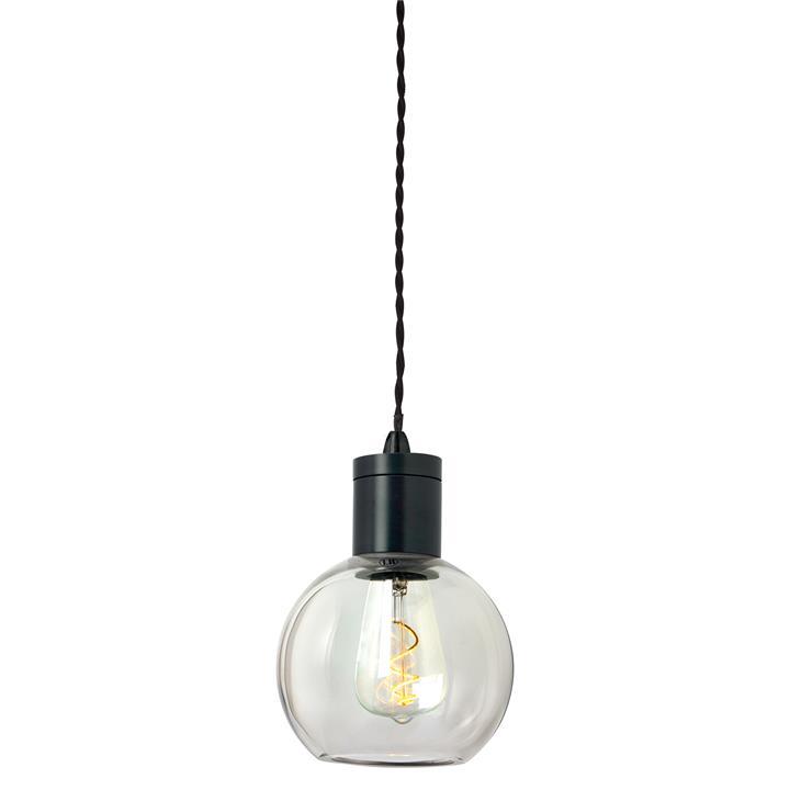 Parlour Sphere Glass Pendant Light, Clear / Iron
