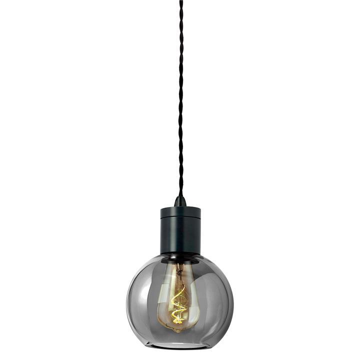 Parlour Sphere Glass Pendant Light, Smoke / Iron