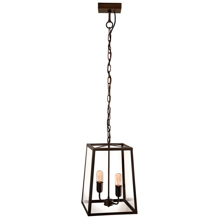 Dover Brass & Glass Pendant Light, 2 Light