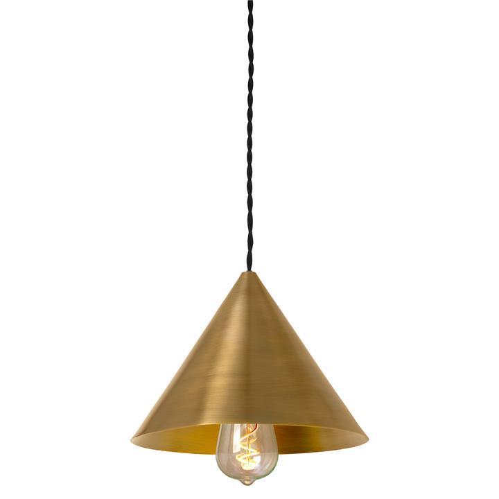 Parlour Cone Metal Pendant Light, Antique Brass