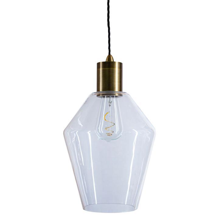 Parlour Geo Glass Pendant Light, Clear / Antique Brass