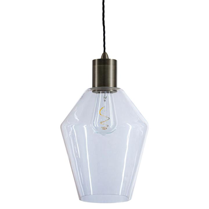 Parlour Geo Glass Pendant Light, Clear / Iron
