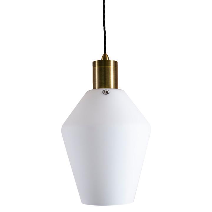 Parlour Geo Glass Pendant Light, White / Antique Brass