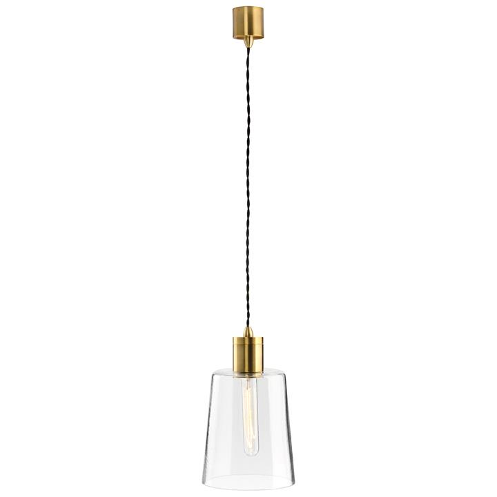 Parlour Round Obscured Glass Pendant Light, Clear / Antique Brass