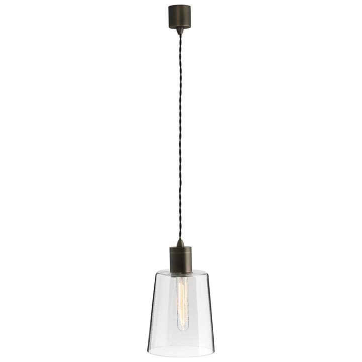 Parlour Round Obscured Glass Pendant Light, Clear / Iron