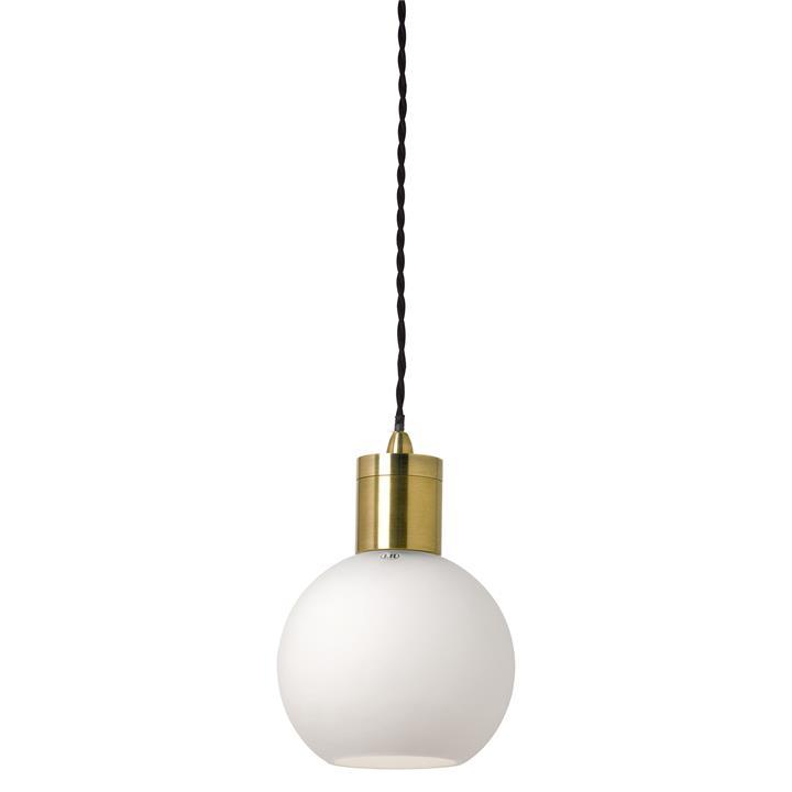 Parlour Sphere Glass Pendant Light, White / Antique Brass