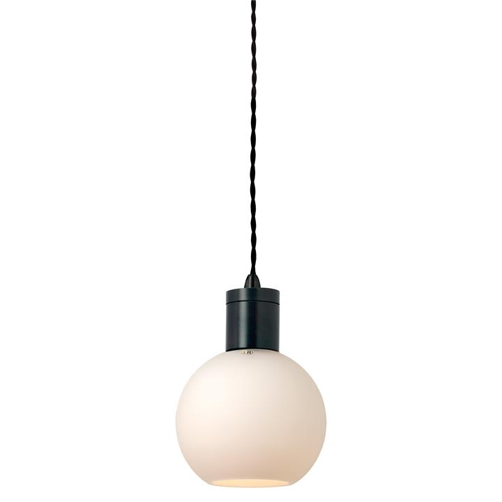 Parlour Sphere Glass Pendant Light, White / Iron