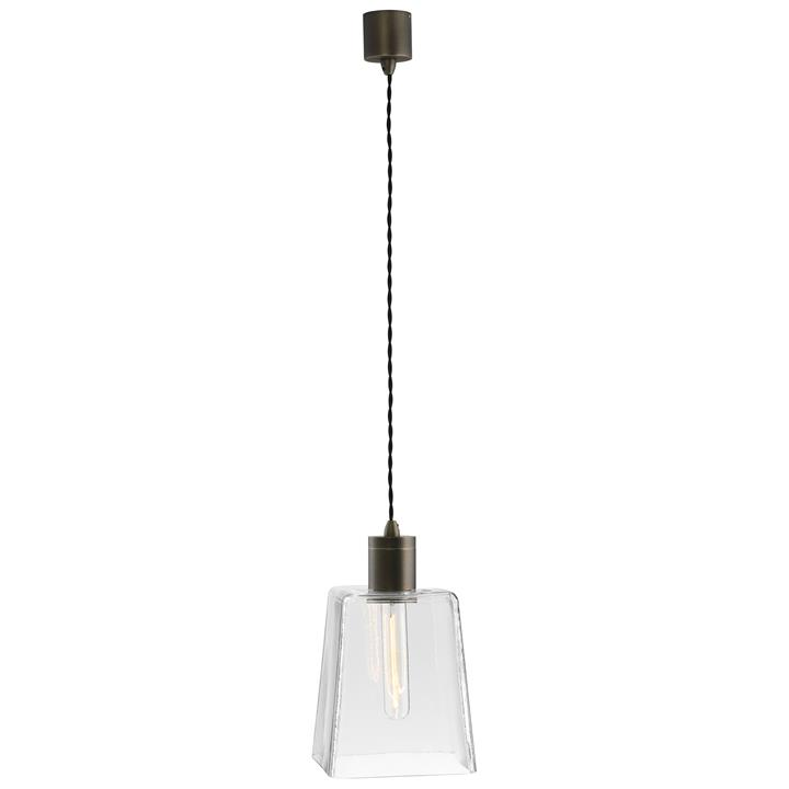 Parlour Square Obscured Glass Pendant Light, Clear / Iron