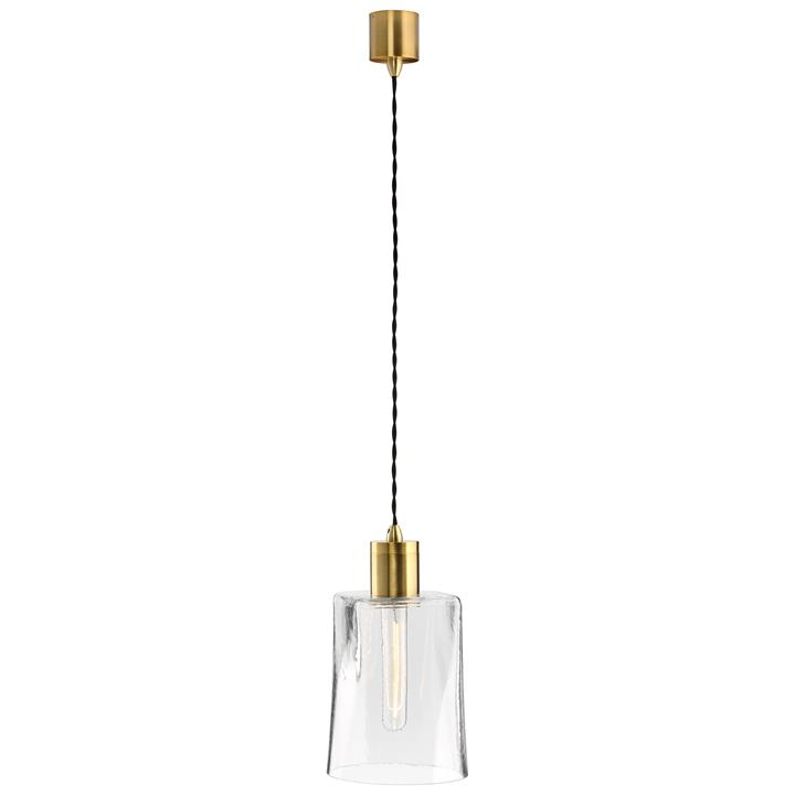 Parlour Square/Round Obscured Glass Pendant Light, Clear / Antique Brass