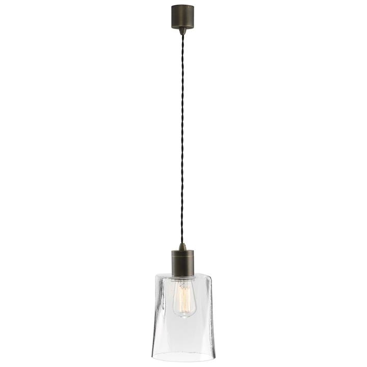 Parlour Square/Round Obscured Glass Pendant Light, Clear / Iron