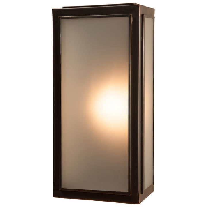 Lille IP44 Brass & Glass Indoor / Outdoor Wall Lantern, Medium, Antique Bronze / Frosted