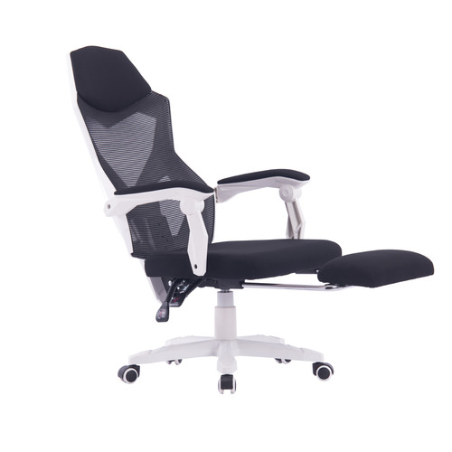 White & Black Modern Office Chair with Foot Rest