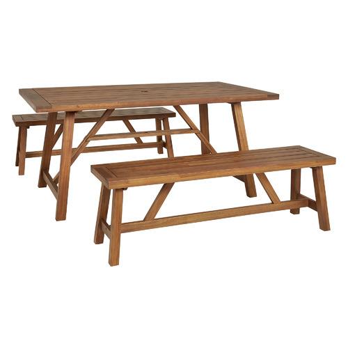 4 Seater Natural Ranch Acacia Wood Outdoor Dining Bench Set