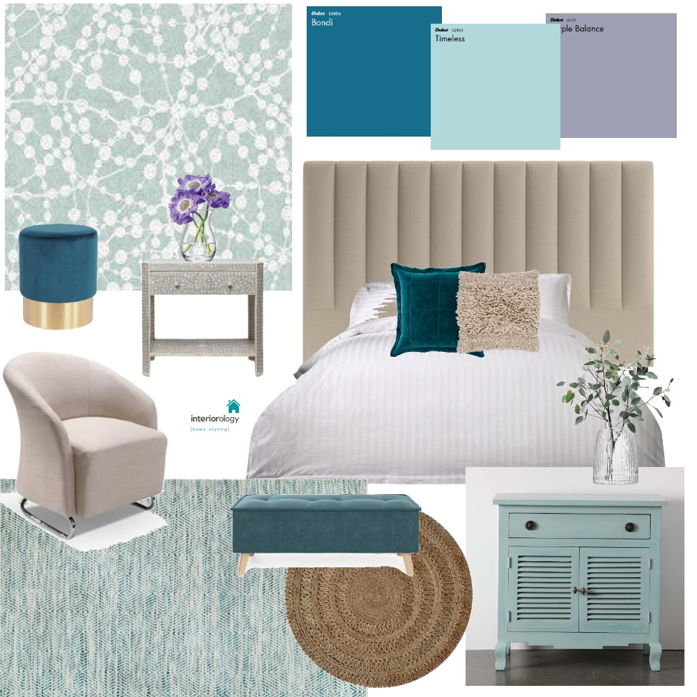 Teal and lavender bedroom Interior Design Mood Board by interiorology on Style Sourcebook