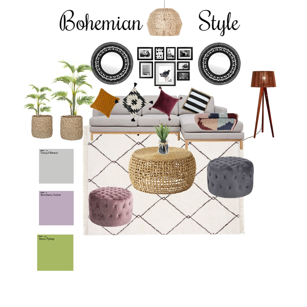 Bohemian Style - Living area Interior Design Mood Board by Candace- Storm on Style Sourcebook