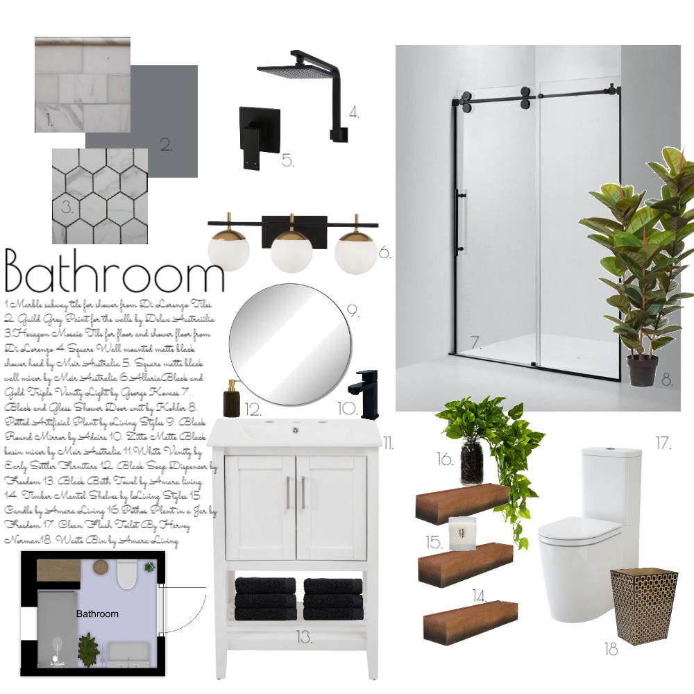 Design School Bathroom Interior Design Mood Board by hhardin1 on Style Sourcebook