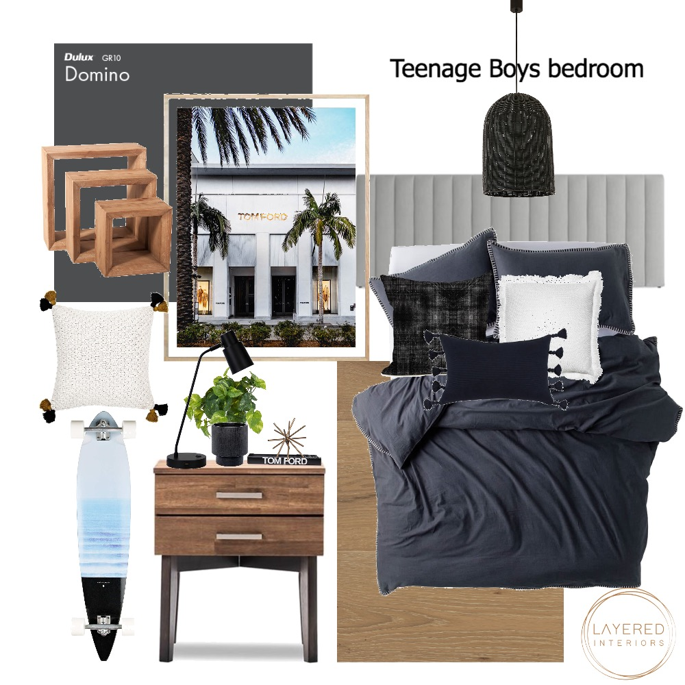 Teenage Boys Bedroom Interior Design Mood Board by Layered Interiors on Style Sourcebook