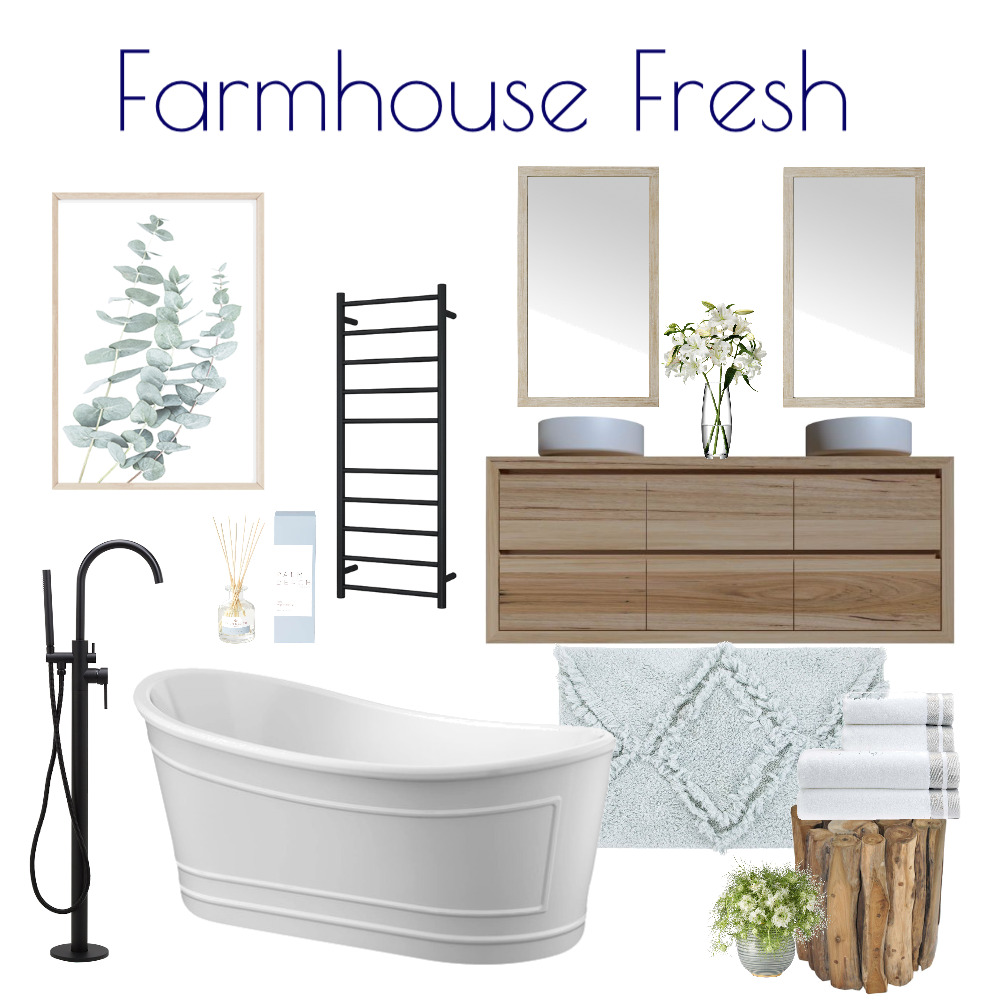 Farmhouse Fresh Bathroom Interior Design Mood Board by Kohesive on Style Sourcebook