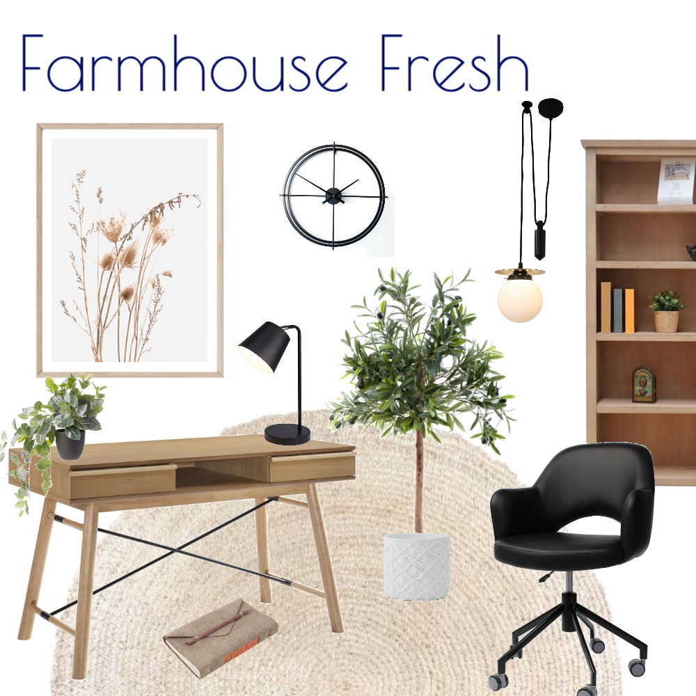 Farmhouse Fresh Study Interior Design Mood Board by Kohesive on Style Sourcebook