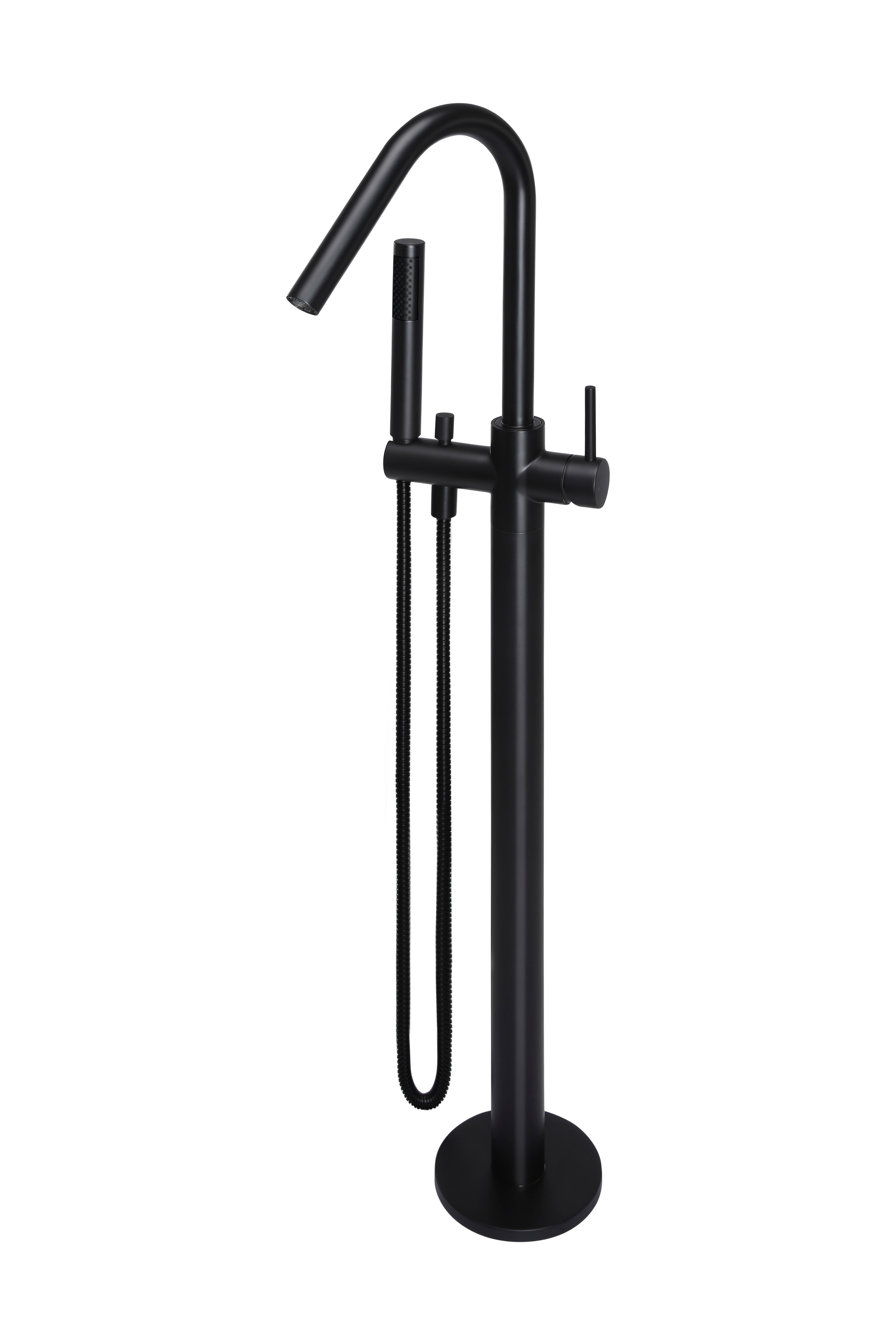 MATTE BLACK ROUND FREESTANDING BATH SPOUT AND HAND SHOWER by Meir, a Bathroom Taps & Mixers for sale on Style Sourcebook