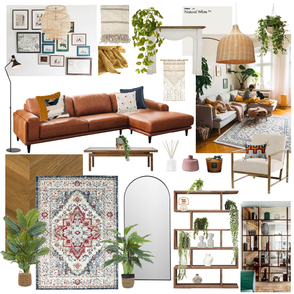 Boho Chic Living Room Interior Design Mood Board by heidimay on Style Sourcebook
