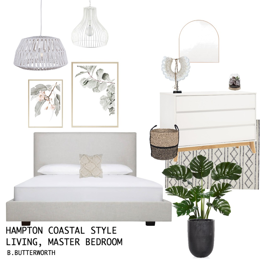 hampton coastal bedroom Interior Design Mood Board by jessiegarlick on Style Sourcebook