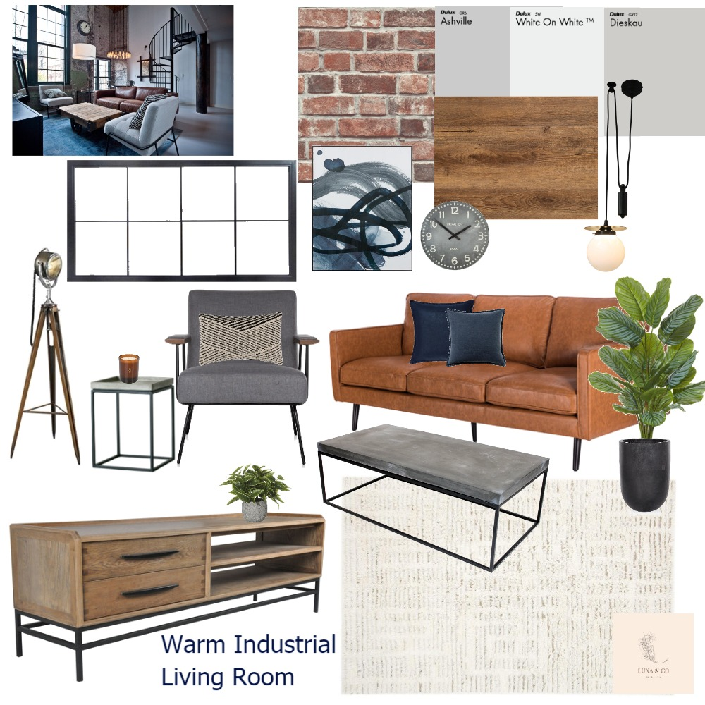 Warm Industrial Living Room Interior Design Mood Board by Luna & Co Interiors on Style Sourcebook