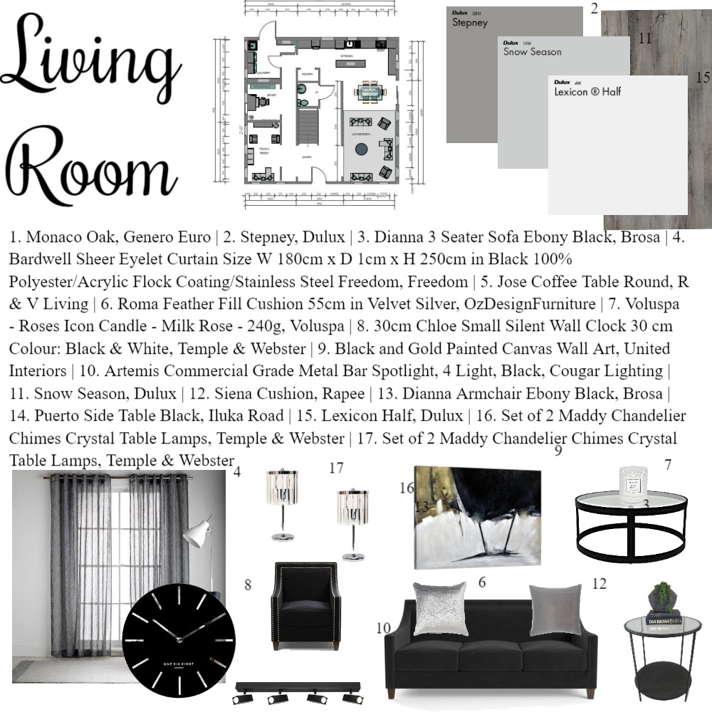 IDI - Mod 9 - Living Room Interior Design Mood Board by Tamz on Style Sourcebook