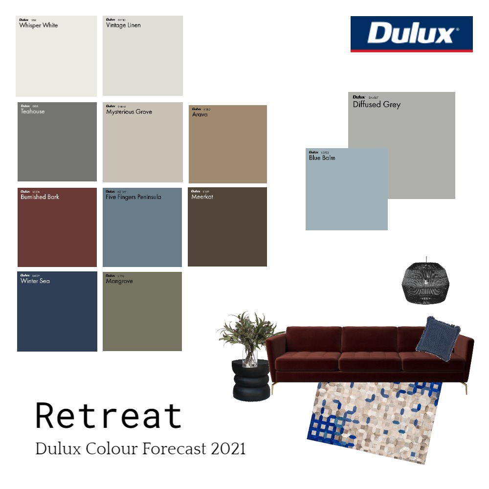 Retreat Dulux Colour Forecast Interior Design Mood Board by Dulux Australia on Style Sourcebook