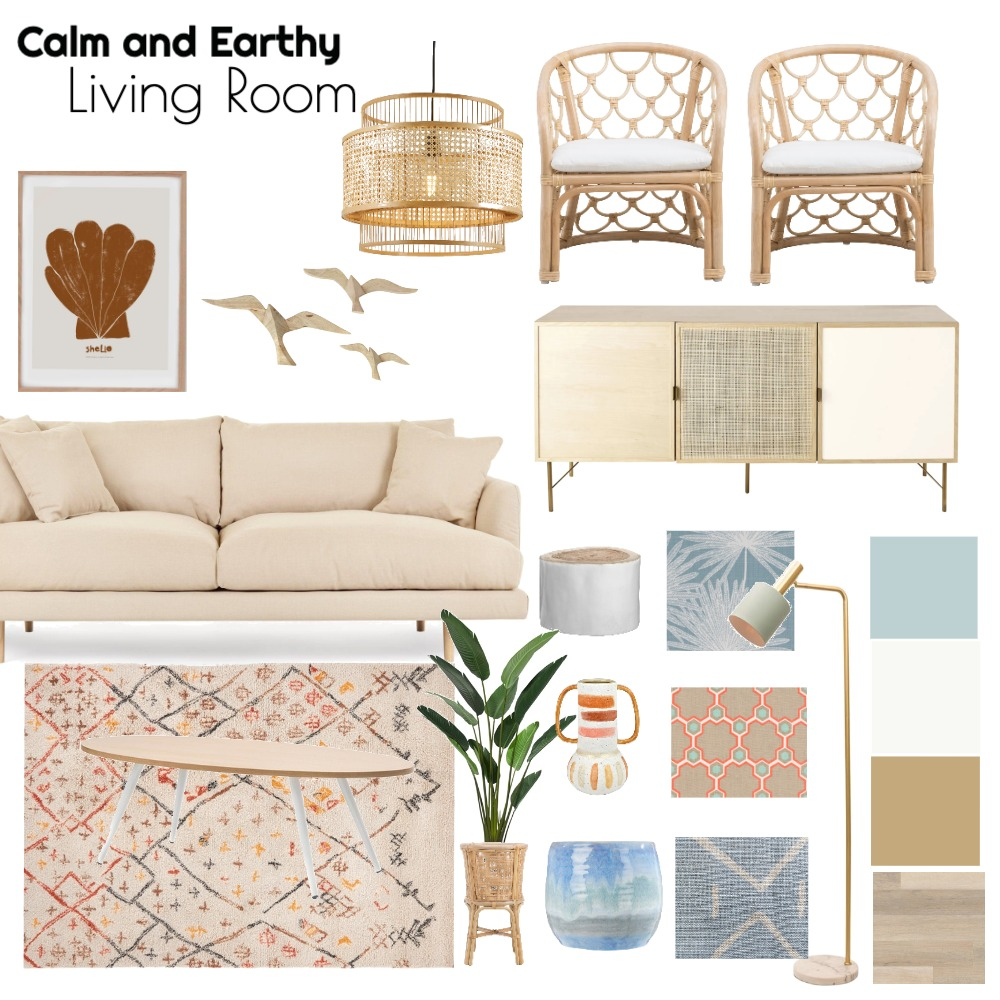 Living Room Blues and Neutrals Interior Design Mood Board by barbaracoelho on Style Sourcebook