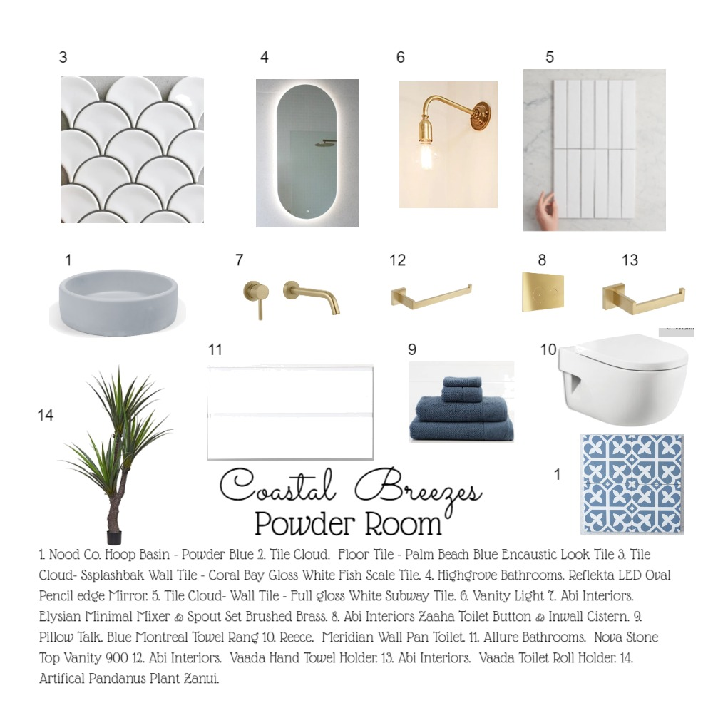 Coastal Sea Breezes Powder Room Interior Design Mood Board by leoniemh on Style Sourcebook
