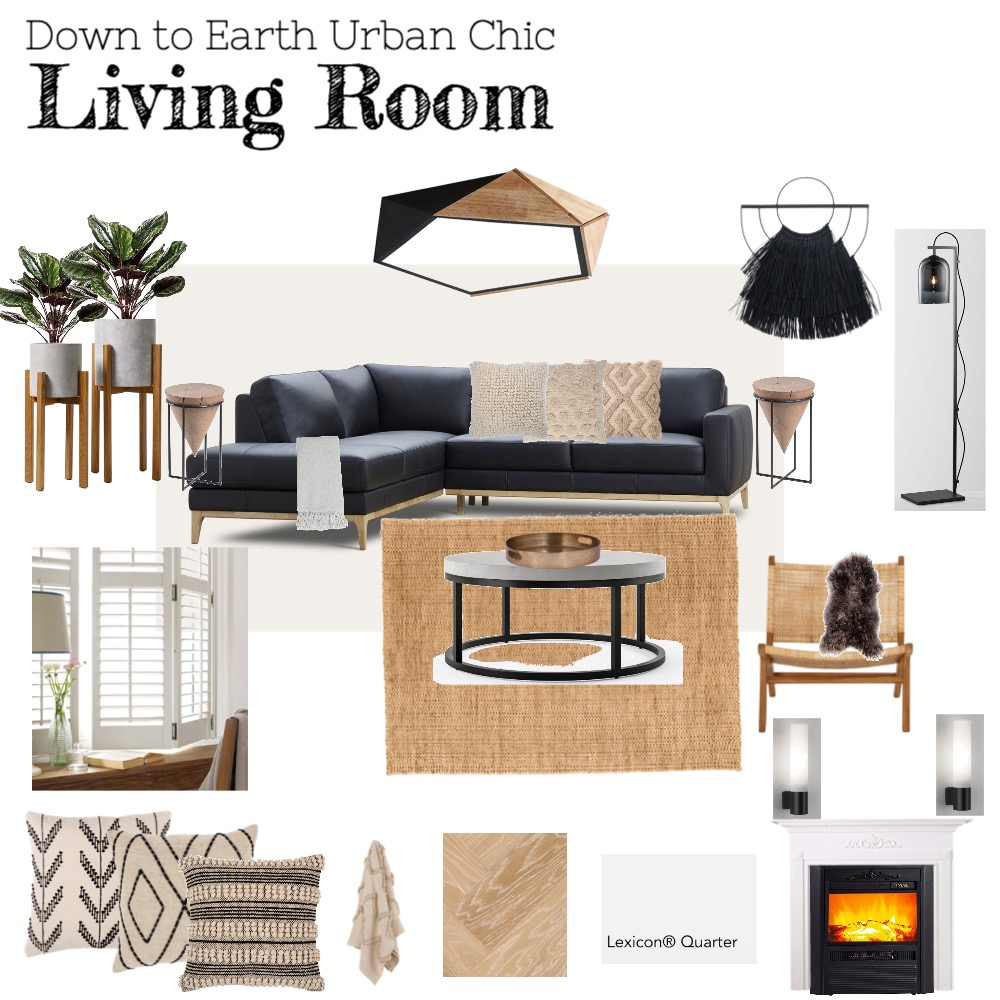 Down to Earth Urban Chic Living Room Interior Design Mood Board by Copper & Tea Design by Lynda Bayada on Style Sourcebook